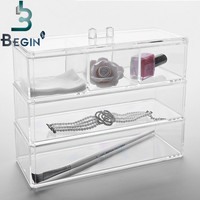 3 Layer Makeup Cosmetic Organizer Clear Acrylic Drawer Case Jewelry Display Storage Box Free Shipping