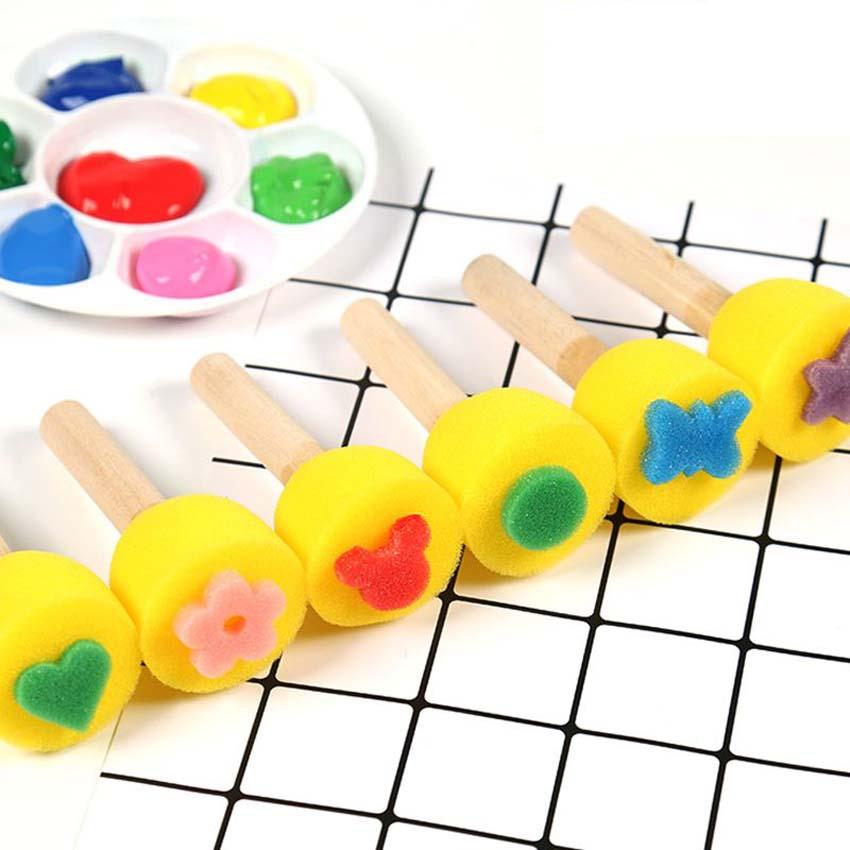 5Pcs Kids Painting Rolling Roller Sponge Brushes Seals Set Painting Drawing Graffiti Tools Art Supplies