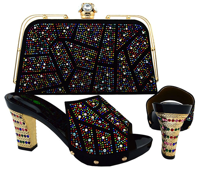 ФОТО 2017 Hot Selling Italy Design Woman Shoes And Matching Bag Set Fashion High Heel Shoes And Bag Set For Party Black Color BCH-19