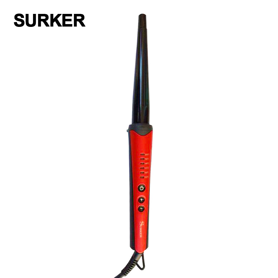 SURKER  6 files LCD temperature control conical tube ceramic hair curlers  electric curling irons Automatic hair crimper kemei km 173 led adjustable temperature ceramic electric tube hair curler