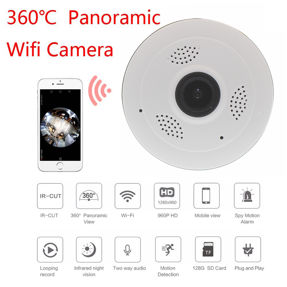 360 Degree Panoramic Camera IP 960P 1.3MP Home Security IP Camera Wifi Two Way Audio WebCam SD Card Slot Digital PTZ home ip wifi camera hd 5mp two way audio activity alert yunsye smart ip wifi webcam 360 degree panoramic camera ir cut
