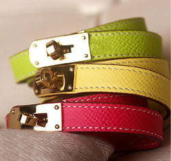 High Quality Kelly Punk Style Fashion Bracelet Double Layer Genuine Leather Bracelet&Bangle For Women