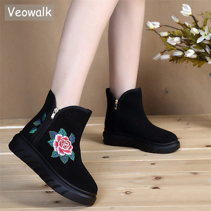 Veowalk 2018 Flower Embroidered Women Casual Ankle Boots Zip up Ladies Cotton Comfort Flat Booties Autumn Winter Shoes Boats sequin embroidered zip up jacket page 1