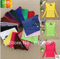Free Shipping HOT SALE!!Cheap Women's Long-sleeve T-shirt Pure Color Square Collar Basic Shirt High-quality Candy-color Tops