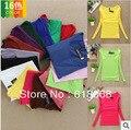 O Envio gratuito de VENDA QUENTE!! Barato das Mulheres da Longo-luva T-shirt da Cor Pura Camisa Básica Gola Quadrada de Alta Qualidade doce cor-Tops