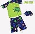 Venta al por menor! New Baby kids traje de baño swimwsuit dinosaurio historieta de los bebés de manga corta + traje de baño + cap 3 unids niño trajes de baño ropa de playa