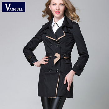 VANGULL 2017 New Fashion Designer Brand Classic European Trench Coat khaki Black Double Breasted Women Pea Coat real photos 2
