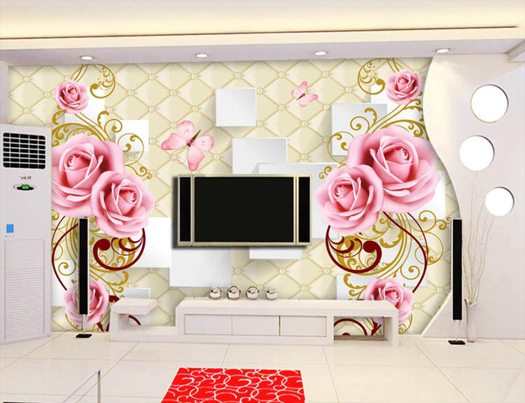 Beautiful Flowers Design Of Large Modern New Special Decorate Household Wallpaper Wall Paintings Panels Cellophan In Wallpapers From Home