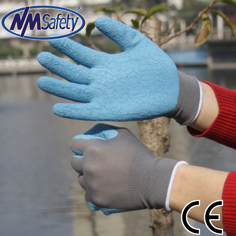 Fashion NMSafety High Quality Grey nylon Liner Coated Blue Latex Safety Work Gloves gloves workers ...