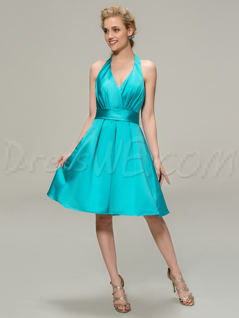 Halter Tea Length Dresses Teal