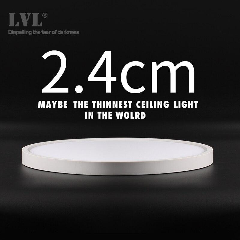 Moderna lámpara LED de techo 12W 18W 24W 32W 220V 5000K lámparas de cocina dormitorio baño lámpara para techo ultrafina