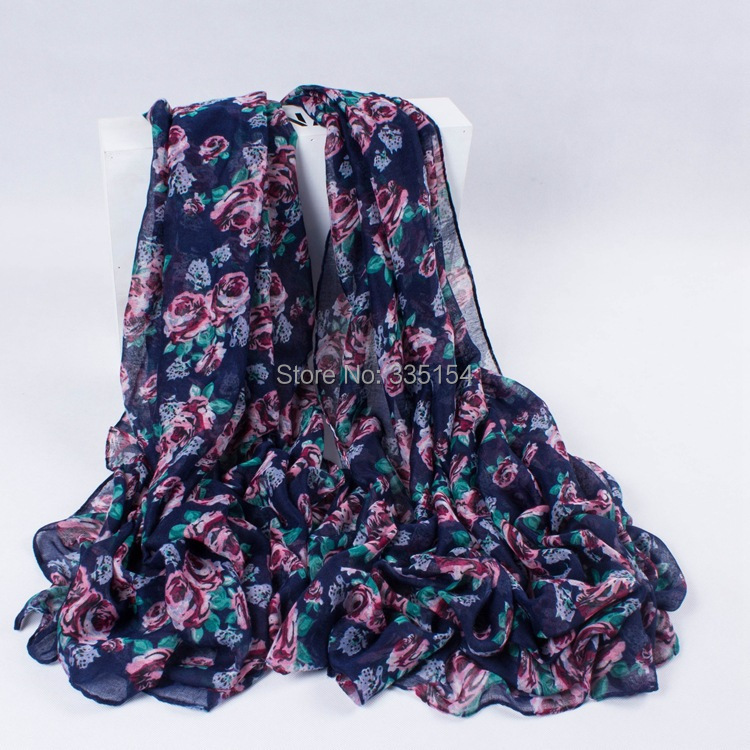 2015 Women Fashion Floral Printed Scarf Women Rose Cotton Voile Shawls 5pcslot