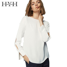 HYH HAOYIHUI 2018 Autumn O-Neck Solid White Sweet  Women Shirts Long Sleeve Female Blouses Elegant Tops For Lady