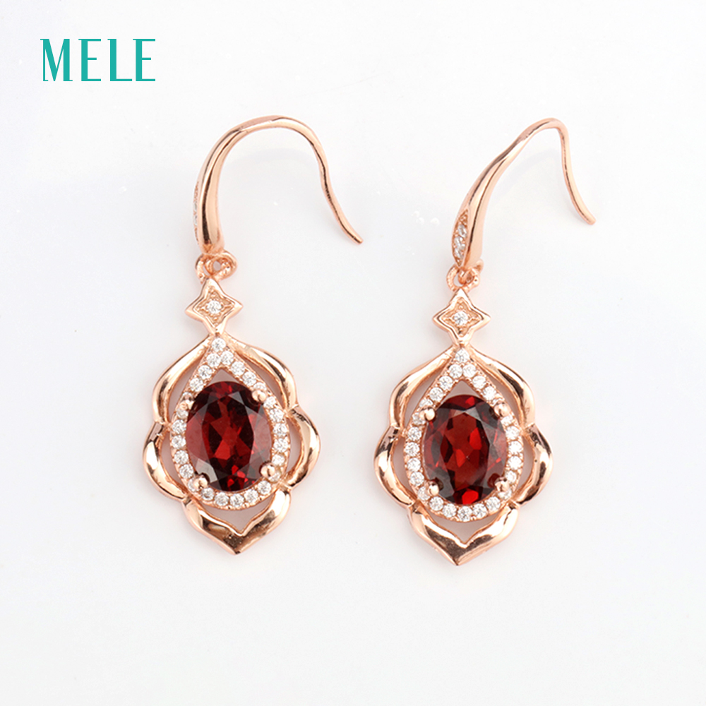 MELE Natural red garnet silver earring oval 6mm 8mm flower shape beautiful and romantic style for ladies in Earrings from Jewelry Accessories