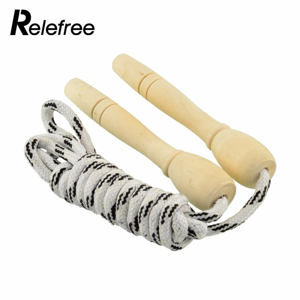 Sports Skipping Rope Motion Wood Grip Handle Children Kid Fitness Equipment Exercise Training Practice Speed Jump Flexible 2.6M