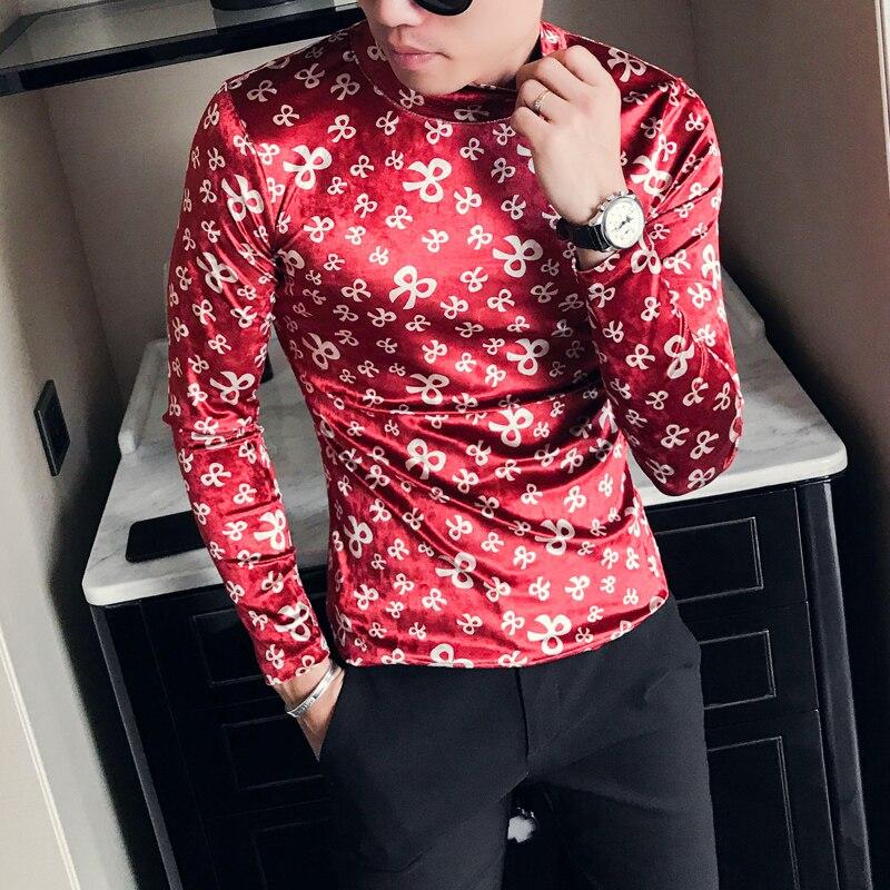 Turtleneck T Shirts Mens Velvet T Shirts Mens Printed T Shirt Mens Red Camisetas Hombre Slim Fit 2018 Winter Fashion Dress Tops