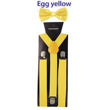 Fashion Solid Color Man's Belt Bowtie Set Men Women Suspenders Polyester Y-Back Braces Multi-color Bow Tie Adjustable Elastic