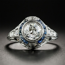 все цены на Fashion Design 925 Sterling Silver Blue Sapphire Rings For Women Fine Jewelry Wedding Engagement Gift Luxury Inlaid Stone Rings онлайн
