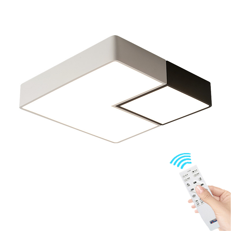 New Nordic geometry led ceiling lamp square modern bedroom living room lamp balcony study remote control Ceiling Light modern led ceiling lamp aisle simple living room porch balcony study room long lamp