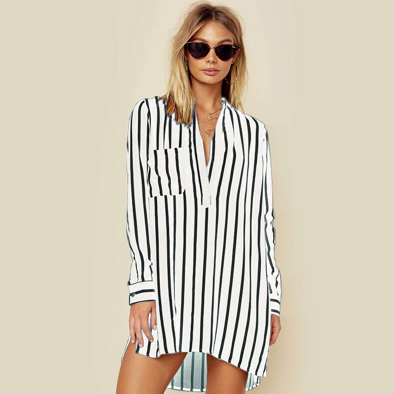 NEW CELMIA 2018 Spring Long Sleeve Loose High Low Long Shirts Women Deep V Neck Work Ladies Baggy Striped Blouse Mini Vestido