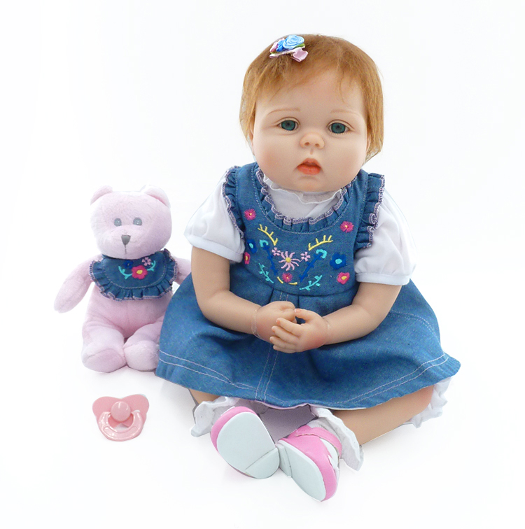 Pursue22/55 cm Reborn Baby Toy For Girl Silicone Body Doll Vinyl Denim Skirt With Embroidery Soft Silicone Reborn Cloth Body pink wool coat doll clothes with belt for 18 american girl doll