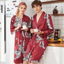 2019 Printing Tiger Summer Satin Kimono Men Bathrobe Women Bride Lovers Wedding Robe Dress Gown Sexy Long Sleepwear nightwear