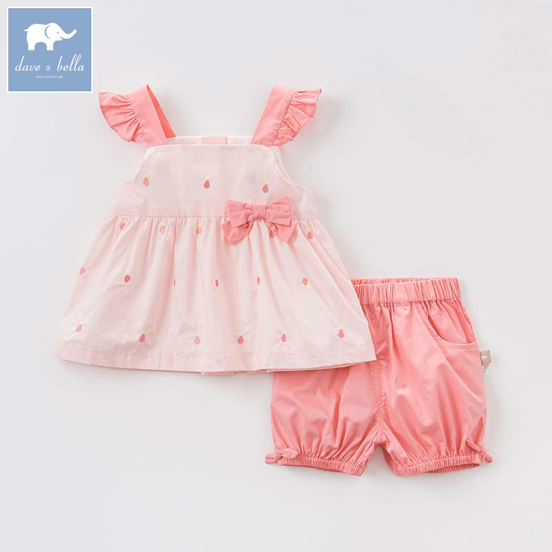 Dave bella toddler girls summer print clothing children high quality clothes baby lovely suit kids clothing sets DBM7433