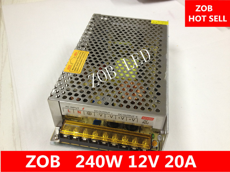 240W LED Switching Power Supply,20A  12V ,85-265AC input,For LED Strip light, power suply 12V  Output CE ROSH--2PCS/LOT 1200w 48v adjustable 220v input single output switching power supply for led strip light ac to dc