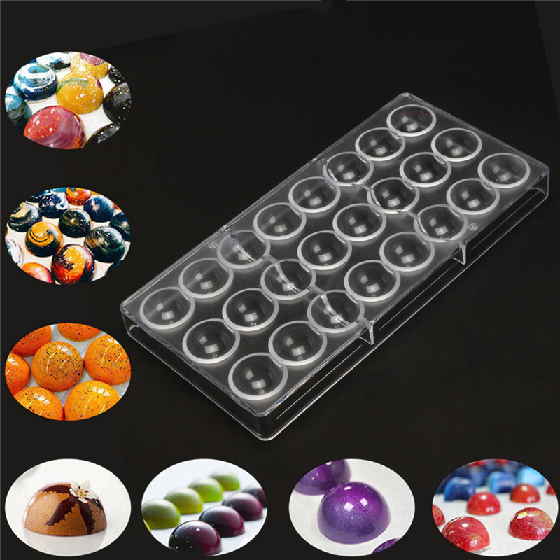 24 molde de Chocolate duro transparente de Media bola DIY Fondant herramienta para hornear policarbonato PS caramelo fabricante pastel Mousse molde drop shipping