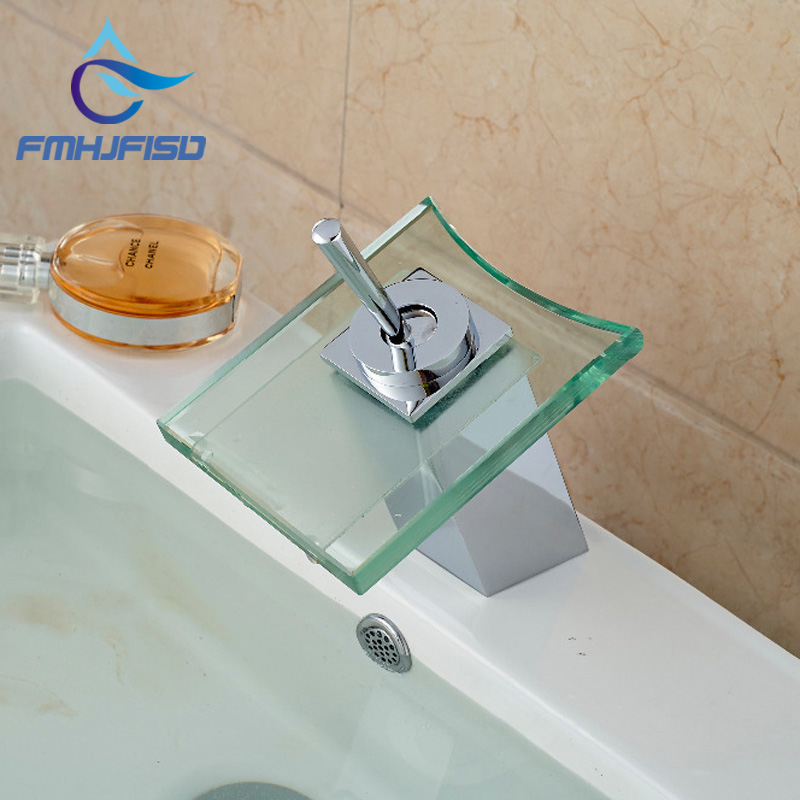 Modern Square Glass Waterfall Spout Bathroom Basin Faucet Single Handle Hole Vanity Sink Mixer Tap