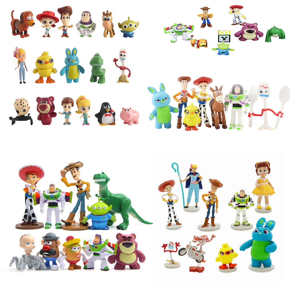 Hot Moive Toy Story 4 Cartoon Toys Woody Buzz Lightyear Jessie Forky Lotso Bullseye Horse Action Figure Collectible Toys Dolls