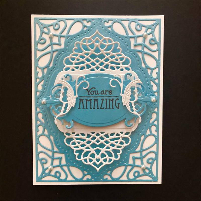 Eastshape Dies Background Layer Frame Metal Cutting Dies for Scrapbooking Template Card Making Embossing Craft Decorative New in Cutting Dies from Home Garden