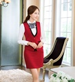 Formal Women Business Suits with Skirt and Top Sets Red Vest & Waistcoat  Elegant Ladies Work Suits Office Uniform Styles