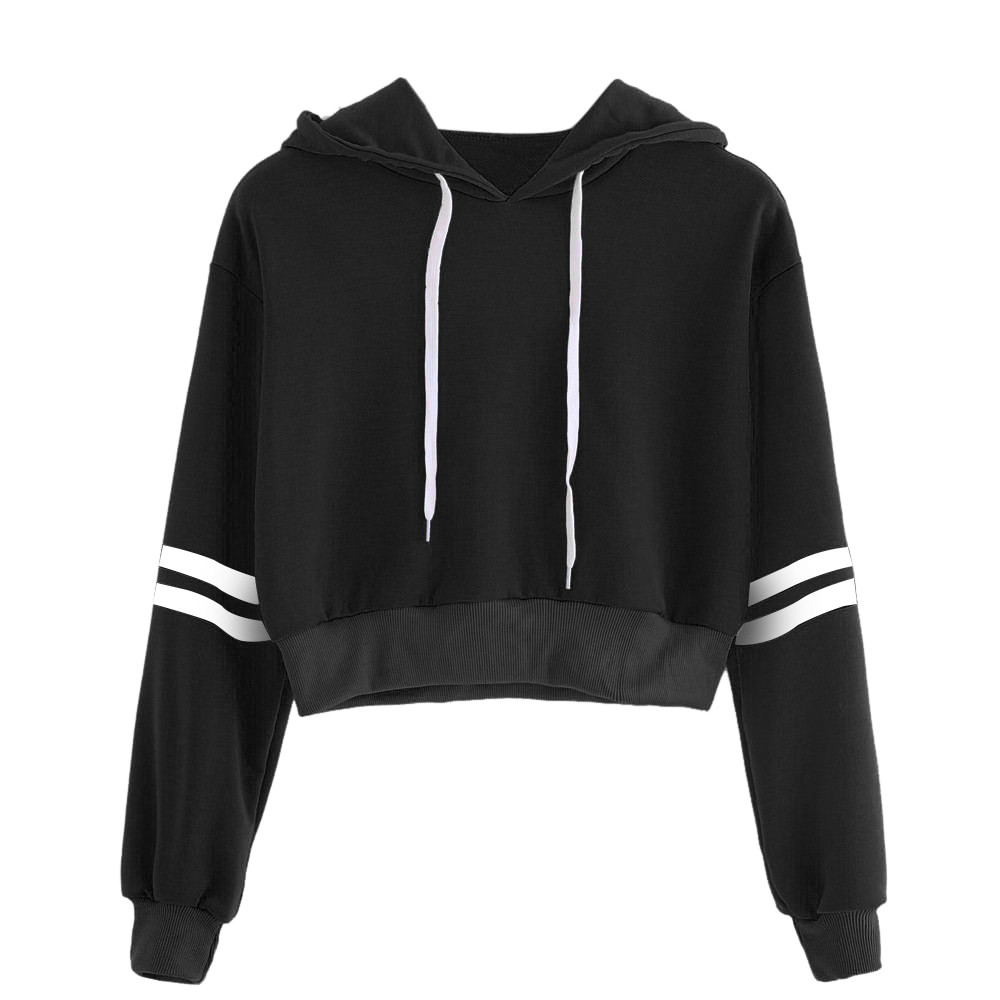 75e55bc3caf8c3 One Sale 2018 Autumn New Casual Fashion Women Varsity Striped Drawstring  Crop Hoodie Sweatshirt Jumper Crop Pullover Top Dropship -in Hoodies    Sweatshirts ...