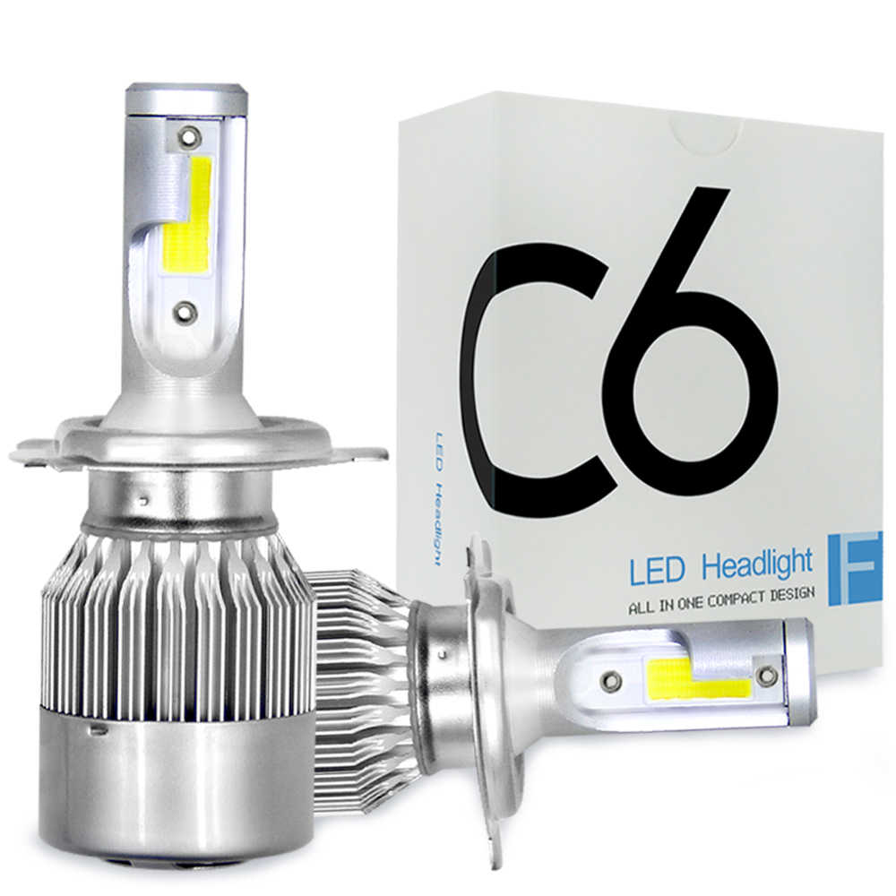COOLFOX 2Pcs Car Lights C6 LED H4 H1 H3 H11 H13 HB4 HB3 9005 9006 880 H7 Led Bulbs Light 12v Lamp Auto Headlight 8000Lm 6000K