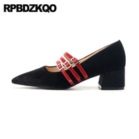 pumps pointed toe velvet high heels thick ladies 2019 strap size 4 34 block red black belts medium mary janes women shoes retro