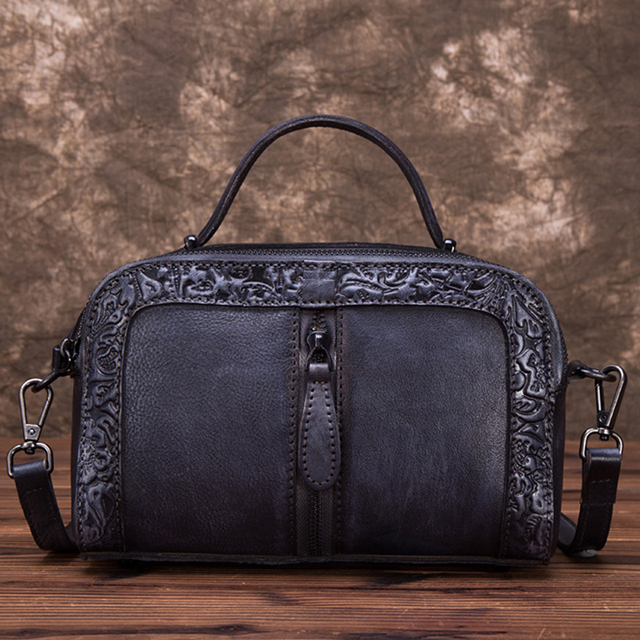 Genuine Leather Crossbody Shoulder Messenger Bag Vine High Quality Leisure Embossed Tote Handbag Retro Women Top Handle Bags
