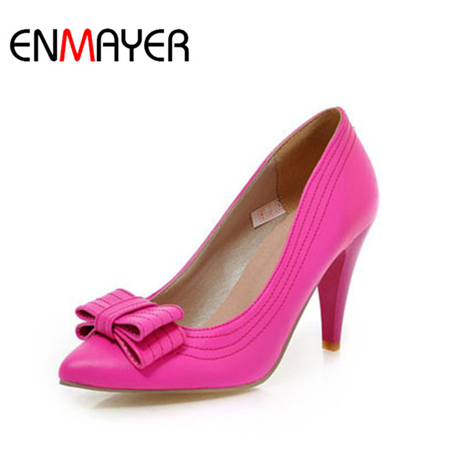 ENMAYER New Large size 34-43 fashion Sexy Yellow Pink Bowtie Thin Heels High shoes Pointed Toe Women Pumps Shoes Platform Pumps