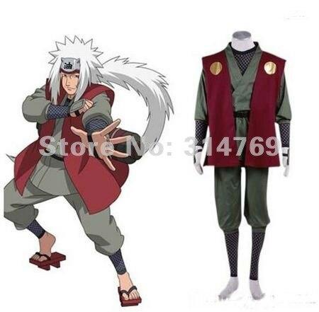 Аниме костюи для косплея Наруто ниндзя Джирайя 1 Gen Для мужчин Высокое качество Полный комплект кимоно для Хэллоуина