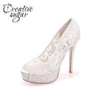 Sexy see through lace perspective high heel stiletto platform peep open toe shoes summer style pink black white ivory 5'' heels