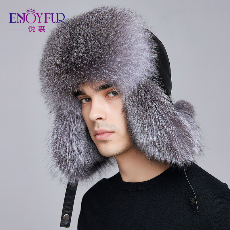 ENJOYFUR winter hat earflap men real fox fur hats russian ushanka fur protect ear warm enough