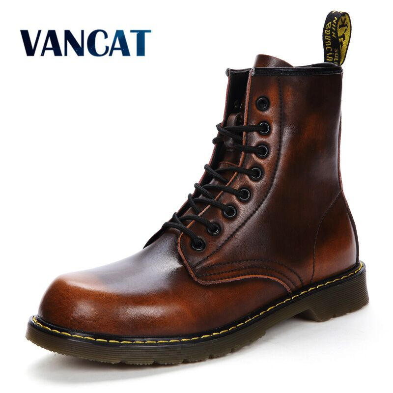 Vancat 2018 New Autumn Winter Cow Split Leather Men Boots Lace-Up Keep Warm Plush Snow Boots Motorcycle Ankle Boots Men Shoes