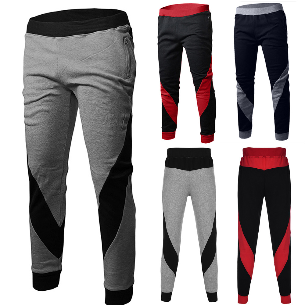 2019 Sports Elastic Waist Pants Mens Fashion Trousers Elastic Sport Color Matching Small Feet Casual Pants 3.21