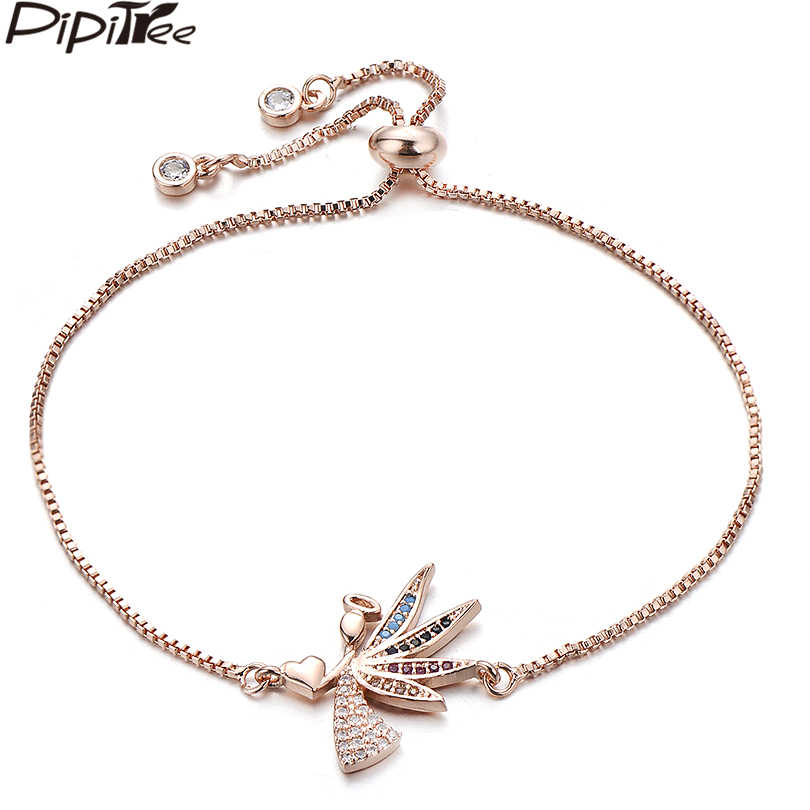 Pipitree Delicate Heart Angel Bracelets for Women Lady Adjustable Chain AAA Zircon Crystal Charm Bracelets Lover's Jewelry Gift