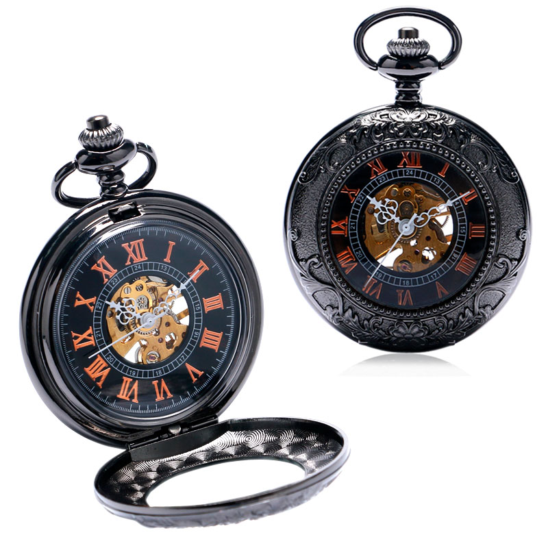 Luxury Cool Retro Roman Number Steampunk Skeleton Mechanical Fob Pocket Watch With Chain Free Drop Shipping roman numerals skeleton watches steampunk pocket watch with chain 2 sides open case luxury brand mechanical pocket watch