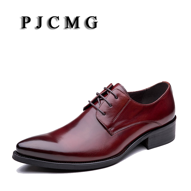 PJCMG Fashion Black/Red Lace-Up Pointed Toe Genuine Leather Business Formal Casual Dress Oxfords Office Shoes For Man pjcmg high quality crocodile grain black wine red mens lace up dress genuine leather pointed toe business formal oxfords shoes