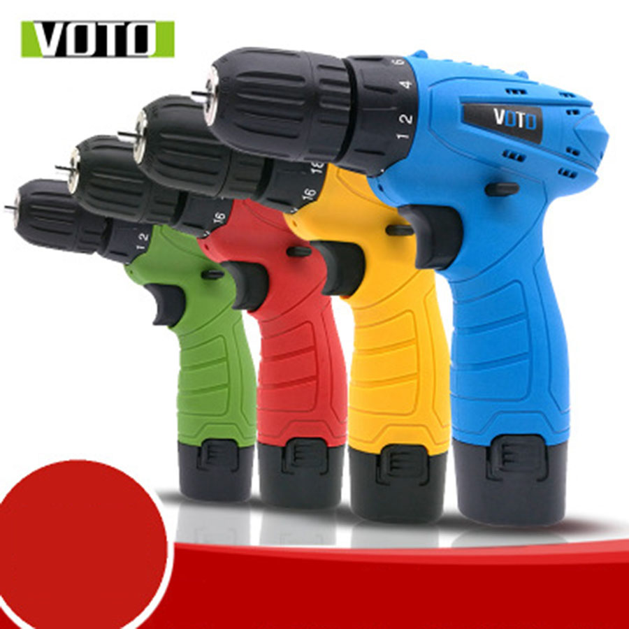 все цены на VOTO Battery Rechargeable Cordless Drill Electric Screwdriver Set Lithium Power Tools Screw Gun Driver 12V 4 Colors 220V 2018 онлайн