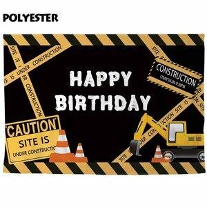 Image 2 - Allenjoy doğum günü backdrop photocall inşaat parti sarı dikkat ekskavatör çocuk greyder fotoğraf arka plan