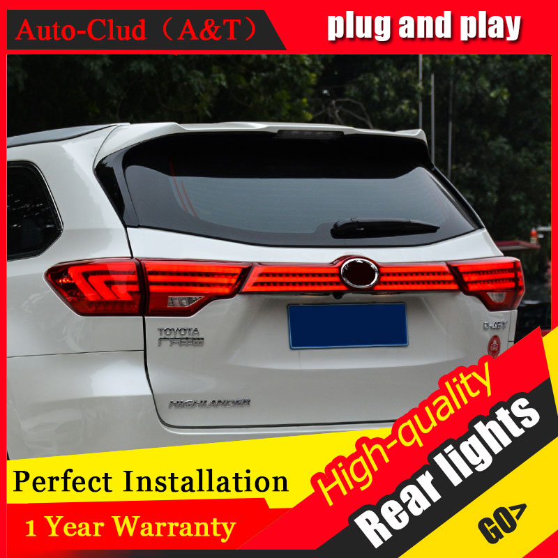 Car Styling for Toyota Highlander taillight 2015-2017 for Highlander LED Tail Lamp Rear Lamp DRL+Brake+Park+Signal led lights akd car styling tail lamp for toyota highlander tail lights 2012 2013 led tail light signal led drl stop rear lamp accessories