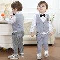 spring autumn Children's clothing sets Baby Boy's suit custome Kids gentleman suit child long sleeve shirt + vest+ trousers